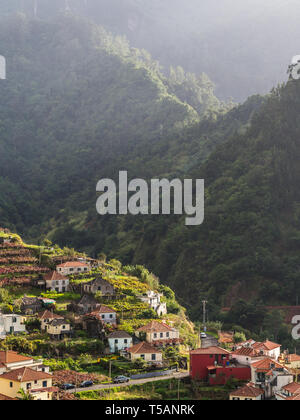 Landscape with a small village on the Madeira island, Portugal. - Stock Image