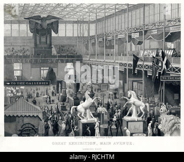 Interior of The Great Exhibition, in the main avenue, looking east. - Stock Image