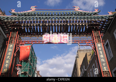 Entrance gate to Gerrard Street Chinatown London - Stock Image