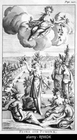 Flora, the Roman goddess of flowers, scatters them from above, while Pomona, the Roman goddess of fruit, sees to it that they spring from the ground - Stock Image