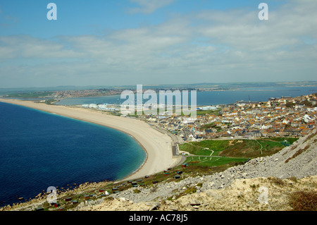 Chesil Beach and Portland Harbour - Stock Image