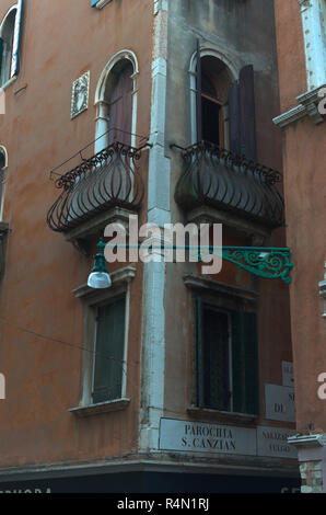 Venetian buildings with balconies - Stock Image