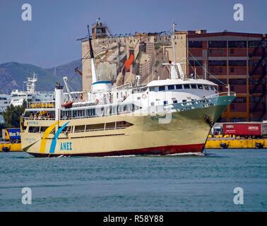 Anes Lines Agios Nektarios in port of Piraeus Athens Greece Europe - Stock Image