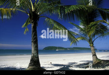 The Beach at Pantai Tanjung Rhu on the coast of Langkawi Island in the northwest of Malaysia - Stock Image
