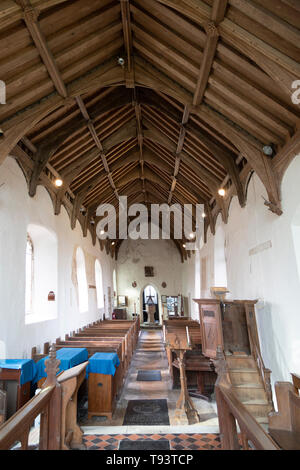 Pews in nave of church of Ilketshall St Andrew, Suffolk, England, UK - Stock Image