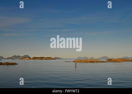 Archipelago near Henningsvaer on Lofoten in northern Norway. - Stock Image