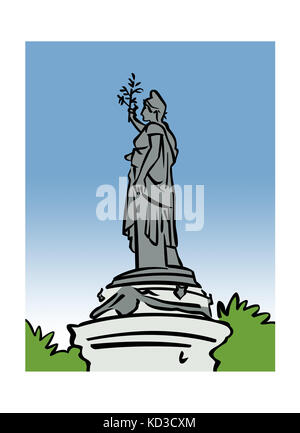 Illustration of the monument at Place de la RŽpublique in Paris, France - Stock Image