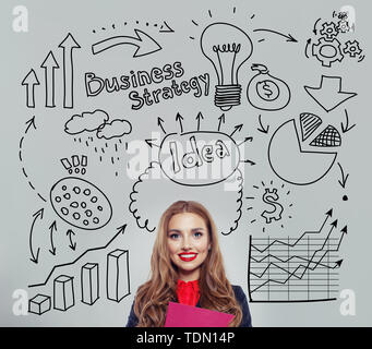 Happy businesswoman planning . Business idea and brainstorming - Stock Image