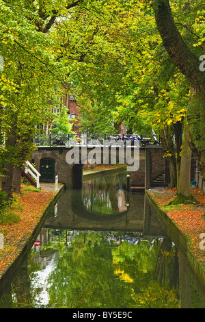 Dutch canal in the fall - Utrecht, Netherlands (Holland) - Stock Image