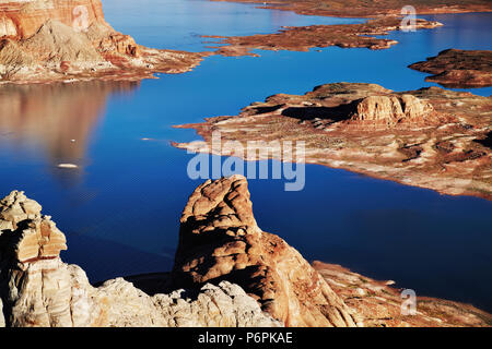 Alstrom Point at sunset, Lake Powell, Utah, USA - Stock Image