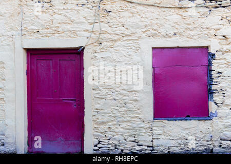 Boarded up window in old cottage, Valentia Island, County Kerry, Ireland - Stock Image