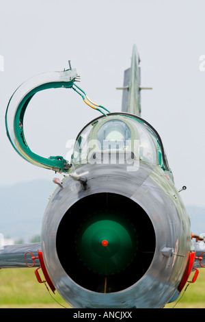 Croatian Air Force MiG-21 BISD fighter with opened cockpit canopy, Pleso AFB during 'open day' visit in - Stock Image