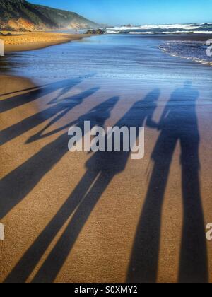 Family holiday, shadows - Stock Image