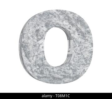 Concrete Capital Letter - O isolated on white background. 3D render Illustration - Stock Image