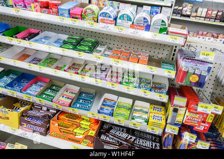 Naples Florida Walmart Wal-Mart global company chain discount department store retail business checkout aisle gum mint chocolate - Stock Image