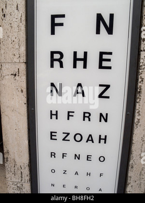 Eye test letters at an optician in  Rome Lazio Italy - Stock Image