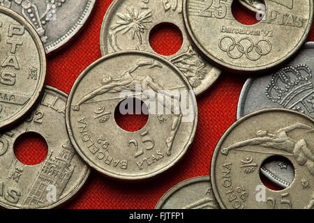 Coins of Spain. High jumper depicted in the Spanish 25 peseta coin dedicated to the Barcelona 1992 Summer Olympics. - Stock Image