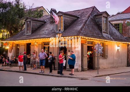 Lafitte's Blacksmith Shop Bar at dusk, Bourbon Street, New Orleans French Quarter, New Orleans, Louisiana, USA - Stock Image