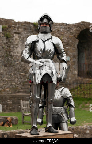 A Knight in full Armour preparing  for an English Heritage Jousting Tournament at Dover Castle, August 2018 - Stock Image