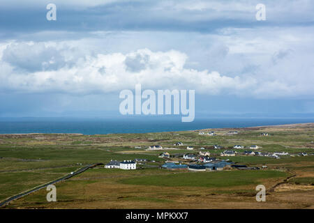 View over the landscape of the Atlantic west coast of Ireland in County Clare near Doolin - Stock Image