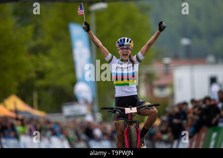 Kate Courtney of USA celebrates after the winning at the XC women race of the UCI MTB World Cup in Albstadt, Germany, May 19, 2019. (CTK Photo/Michal  - Stock Image