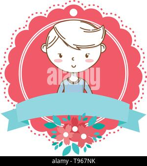 Stylish boy blushing cartoon outfit smile sweater portrait  vector illustration graphic design - Stock Image