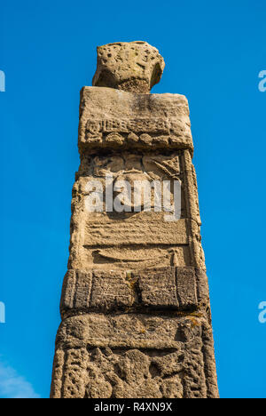 Anglo Saxon Stone Structures depicting biblical scenes in Sandbach, Cheshire. - Stock Image