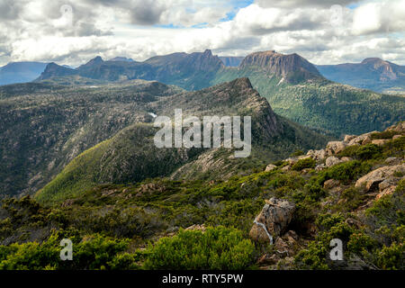View to the Labyrinth and the Du Cane Range from the top of Mount Gould in Cradle Mountain–Lake St Clair National Park, Tasmania - Stock Image