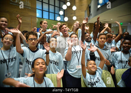 attends UNICEF Kid Power during Miami Open 2019 day 2 at Hard Rock Stadium on March 19, 2019 in Miami Gardens, Florida.  Featuring: Nicolás Jarry Where: Miami Gardens, Florida, United States When: 19 Mar 2019 Credit: Johnny Louis/WENN.com - Stock Image