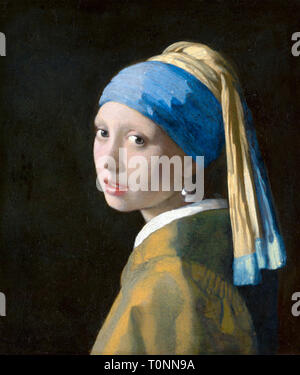 Johannes Vermeer, Girl with a Pearl Earring, portrait, c. 1665 - Stock Image