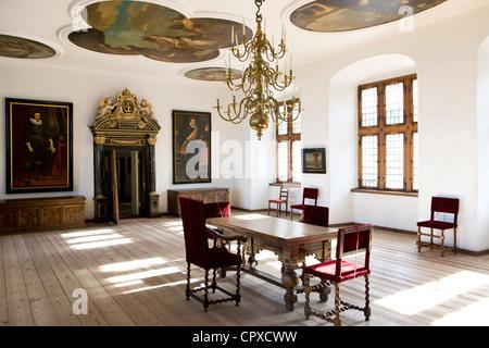 Historical meeting room interior from Kronborg in Elsinore Denmark - Stock Image