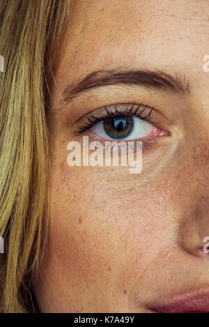 Close-up of woman's face and eye - Stock Image