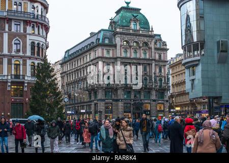 Vienna's St Stephens Square Stephansplatz in winter. Austria. - Stock Image
