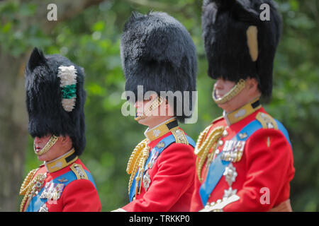 London, UK. 08th June, 2019. HRH Prince William, Duke of Cambridge, in uniform, flanked by his father, HRH Prince Charles and uncle HRH Prince Andrew, Trooping the Colour, The Queen's Birthday Parade Credit: amanda rose/Alamy Live News Credit: amanda rose/Alamy Live News - Stock Image
