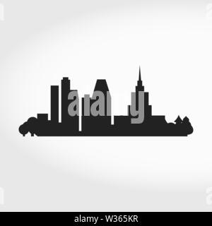 Big City Skyline Silhouette. Business center. Modern and classic skyscrapers. Vector Illustration. - Stock Image