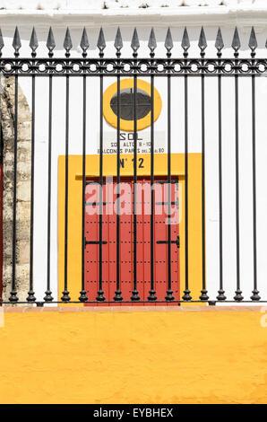 Detail of the outside of Seville Bullring, Seville, Andalucia, Spain, Europe. - Stock Image