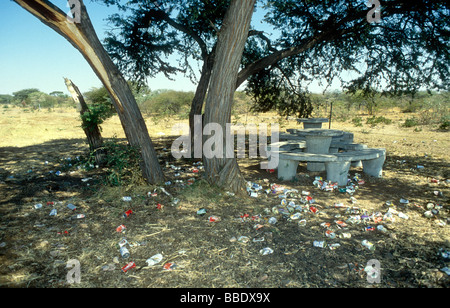 Rubbish at a road side stop - Stock Image