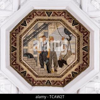Ceiling mosaic decoration, Novoslobodskaya Station, Moscow Subway, Moscow, Russia - Stock Image