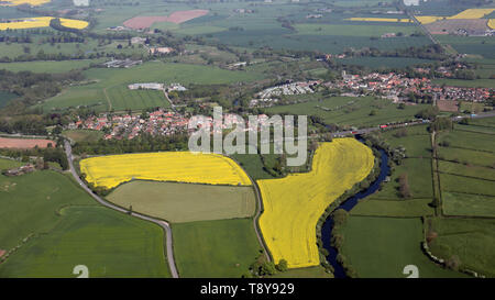 aerial view of Topcliffe & Asenby villages near Thirsk, North Yorkshire - Stock Image