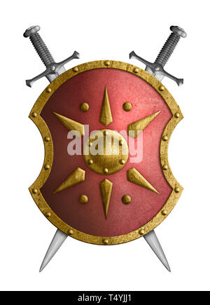 metal red shield with golden star crossed swords isolated on white - Stock Image