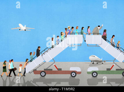 Passengers climbing and descending airport boarding stairs - Stock Image