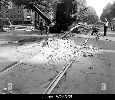 Streetcar Track removal ca. 1935 - Stock Image