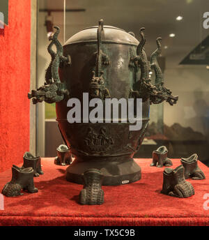 Dwindled duplicate of seismoscope or Di Dong Yi(Earth Motion Instrument) invented by Chinese inventor Zhang Heng (AD78-139).Geological Museum of China. - Stock Image