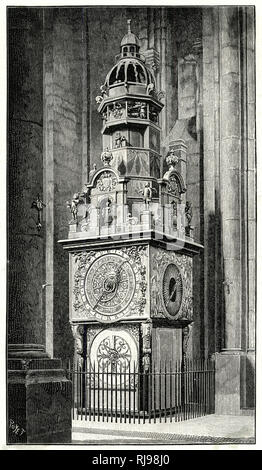 Sophisticated astronomical clock in Lyon Cathedral - Stock Image