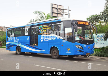 Exterior, side view of TransJakarta bus - Stock Image