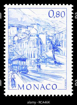 Monaco postage stamp (1991): Early Views of Monaco definitive series: Avenue du Beau Rivage - Stock Image