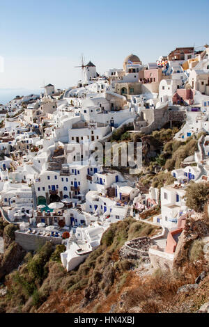 Typical View of Oia Santorini Greece - Stock Image