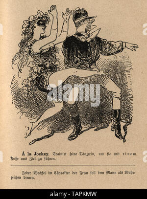 Victorian Cartoon of a showgirl dacning with a man kicking her leg high in the air 1880s, German - Stock Image