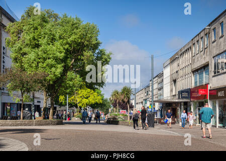 2 June 2018: Plymouth, Devon, UK - Shoppers in New George Street on a warm and sunny spring morning. - Stock Image