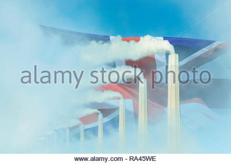 Global warming Climate change  UK flag smoke greenhouse gas chimney. - Stock Image